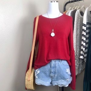 Michael Stars Red Knit Bell Sleeve Top